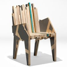Petroglyph Chair by Nucleo, made from discarded pieces of plywood in varying lengths