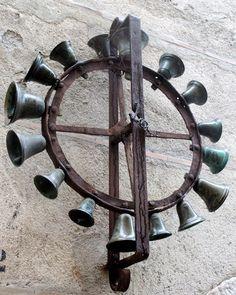 unusual antique wrought iron & multiple brass bell | Bells ...