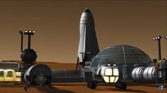 SpaceX ITS spaceship at Mars Base Alpha by Mark Thrimm