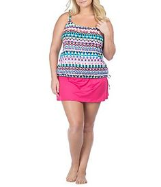ed4b4fd65e 24th   Ocean Plus Stop   Geo Blouson Tankini   Solid Skirted Bottom Plus  Swimwear