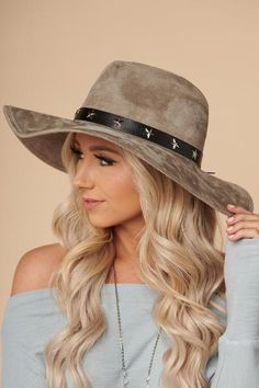 Don t Fall For Me Wide Brim Boho Hat (Grey) 956512a503a9
