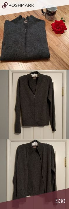 Cashmere Cardigan Get ready for the cold!!! This trendy cardigan can be dressed up or worn on a casual day shopping. The bottom of the cardigan and sleeves are ribbed. Zipper works. Celebrate this winter in style. 100% cashmere. Valerie Stevens Sweaters Cardigans