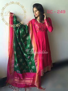 Dress silk indian blouse designs new Ideas Salwar Designs, Kurti Designs Party Wear, Saree Blouse Designs, Indian Gowns, Indian Attire, Indian Outfits, Indian Wear, Kalamkari Dresses, Ikkat Dresses