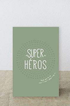 """Carte postale """"Super Héros"""" parce que tu est mon moi plus toi : Cartes par suite-creative-babies"""