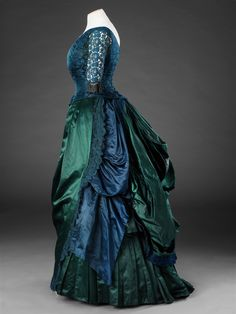 """fripperiesandfobs: """"Evening dress, mid-1880′s From the John Bright Historic Costume Collection """""""