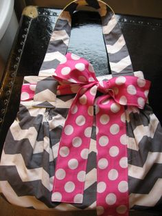 Abby purse in gray chevron with print scarf/bow (solid lining to match bow)