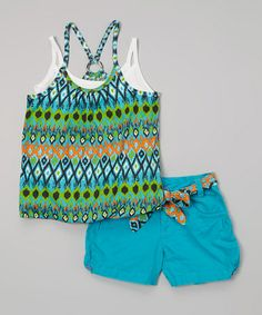 Blue Ikat Layered Tank & Shorts - Infant, Toddler & Girls #zulily #zulilyfinds