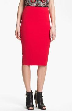 Vince Camuto Midi Tube Skirt (Regular & Petite) Cherry Medium P