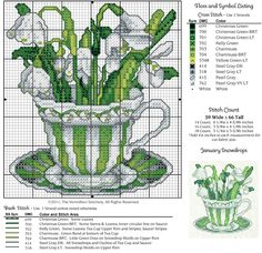 JANUARY SNOWDROPS. Suggest making cup plainer colours or muted.Gallery.ru / Photo # 1 - 12 in cups - irisha-ira