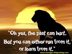 Oh yes, the past can hurt. but you can either run from it, or learn from it. Lion King -- the wisest Disney animation