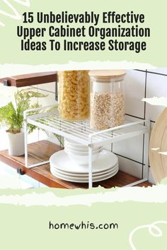 Low on kitchen cabinets storage space? Have trouble finding what you need? Here are 15 organization ideas that'll keep your cabinet clutter free and looking organized. If you love to cook, then you'll surely find these tips useful.Start organizing your upper and lower cabinets now with these 15 organization ideas! #homewhis #cabinetorganization #homeorganization #pantryorganization #spiceorganization #declutter Cabinet Spice Rack, Spice Rack Organiser, Low Cabinet, Small Cabinet, Kitchen Cabinet Organization, Storage Cabinets, Small Kitchen Organization, Fridge Organization, Organization Ideas