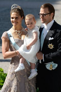 "Crown Princess Victoria of Sweden with Princess Estelle and Prince Daniel arrive at the Royal Chapel, the Royal Palace in Stockholm for the wedding ceremony; wedding of Princess Madeleine of Sweden and mr. Christopher ""Chris"" O'Neill, June 8th 2013"