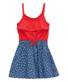 Engine Red Americana Stars Sleeveless Dress - Infant & Toddler