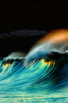 golden crown of water crests over aqua wave ~ by Arlo West