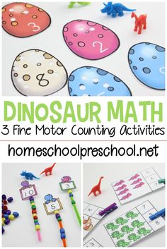 Kids can practice counting while building fine motor skills with three dino-mite dinosaur counting activities for preschoolers! Kids can practice counting while building fine motor skills with three dino-mite dinosaur counting activities for preschoolers! Counting Activities For Preschoolers, Numeracy Activities, Preschool Learning, Kindergarten Activities, Toddler Activities, All About Me Preschool Theme Activities, Counting For Toddlers, Preschool Fine Motor Skills, Vocabulary Activities