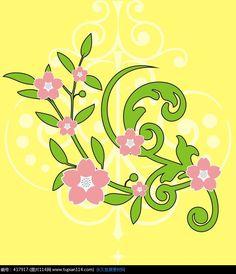 粉色花朵黄色背景