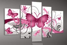 Pink Butterfly, art for teen girls room decoration - Direct Art Australia,   Shipping: Free Shipping,  Size of Parts: 30cm x 50cm x 2 panels + 25cm x 70cm x 2 panels + 25cm x 80cm x 1 panel,  Total Size (W x H): 135cm x 80cm,  Delivery: 14 - 21 Days,  Framing: Framed & Ready to Hang!  http://www.directartaustralia.com.au/