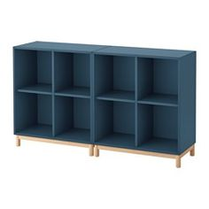 IKEA - EKET, Storage combination with legs, dark gray, , Hide or display your things by combining open and closed storage.The drawers have integrated push-openers so that you can open them with just a light push.