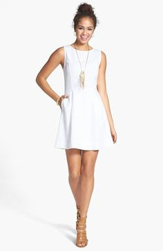 2d661ce945  48 Frenchi® Textured Cotton Fit  amp  Flare Dress (Juniors) available at