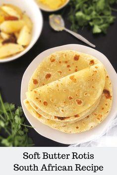 Soft Roti Recipe, Roti Recipe Indian, South African Recipes, Indian Food Recipes, Whole30 Recipes Lunch, Chapati Recipes, Trinidad Recipes, Easy Whole 30 Recipes, Food Garnishes