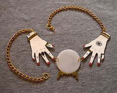 Fortune Teller. Crystal Ball. Shrink Plastic Necklace. Occult Necklace. Gypsy Necklace. Witchcraft.