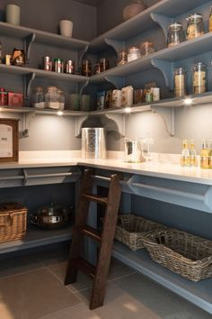 Walk In Pantry - Country House Project, Hampshire - Luxury Kitchen Made To Order - Hum . Walk In Pantry - Country House Project, Hampshire - Luxury Bespoke Kitchen - Humphrey Munson, Clever Kitchen Storage, Kitchen Pantry Design, New Kitchen, Kitchen Organization, Rustic Kitchen, Kitchen Modern, Kitchen Layout, Kitchen With Pantry, Organization Ideas