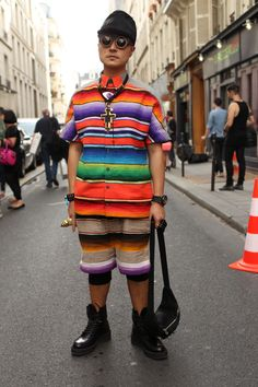 All the colours of the rainbow in Peruvian-inspired matching separates.  WGSN street shot, #PFW.