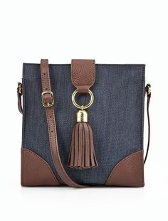A Denim & Leather Crossbody Bag is a stylish necessity for days out to nights out.