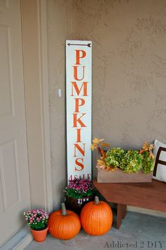 Create a simple and rustic sign for your fall porch using chalky finish paint.