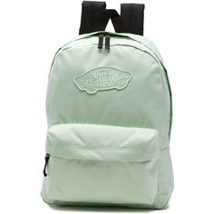 Vans Realm Backpack (45 AUD) ❤ liked on Polyvore featuring bags, backpacks, green, green backpack, backpack bags, vans rucksack, polyester backpack and day pack rucksack