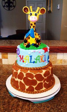 Giraffe Birthday Cake- Bake Your Day, LLC, Alexandria, LA- www.facebook.com/bakeyourdayllc