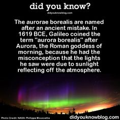 "did-you-kno:The real cause: Solar wind. It distorts the Earth's magnetic field and allows charged particles from the Sun to enter the Earth's atmosphere at the magnetic north pole and south poles. As these charged particles ""excite"" gases in our atmosphere, they make make them glow - just like gas in a fluorescent tube.  Source"