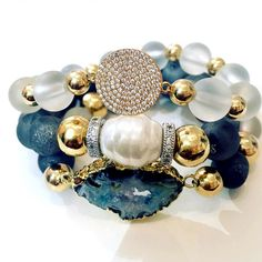 Set By Vila Veloni Stone Of Peace And Natural Energy Bracelets