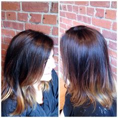 Updated ombré hair color, brunette with hand painted highlights by Kellyn. North End, Boston #brunette #highlights #dimension #ombre #hairbykellyn