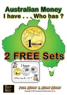 Money - I have ... Who has (Australian Money)Suitable for Years 1 to 4.You get 2 FREE Sets of: AUSTRALIAN MONEY - I HAVE, WHO HAS cards.I have, who has - is an easy game to play and understand.I have, who has - is a fun way to learn about Australian Money.I have, who has - comes with both whole class and group sets.You get set 1 (30 card set) and set 6 (12 card set).ANSWER Sheets also included.This FREE product allows you to test out this activity with your class to determine if you would…