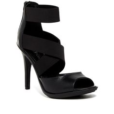 Kenneth Cole Reaction Rhye High Heel Sandal ($50) ❤ liked on Polyvore featuring shoes, sandals, black, high heel sandals, platform sandals, black platform sandals, black leather sandals and strappy platform sandals
