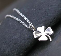 Sterling Silver Four Leaf Clover Necklace  by LeatherwoodDesigns