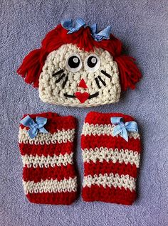 Raggedy Ann Set, Crochet Leg Warmers, Hat, Wig, Photography Prop, Fabric Bow, Newborn, Baby Girl, Toddler, Etsykids, LDM team, Artisan Group on Etsy, $35.00