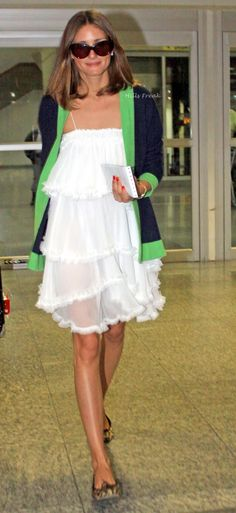 Ms. Olivia Palermo in white with jacket trimmed in green. {cute summer dress}