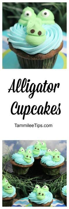 Super cute and fun Alligator Cupcakes!