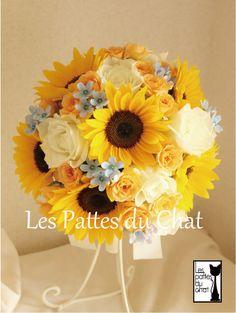ウェディングフラワーセレクトショップ ~レ・パデュシャ~(WeddingFlowerSelectshop ~Les Pattes du Chat~)... ひまわりのウェディングブーケ