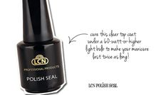 LCN Polish Seal - a top coat that takes four minutes under a 60watt light bulb to perfectly set your nail polish. Removes with non-acetone remover.