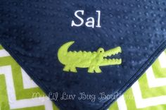 Personalized baby blanket navy blue and jade green by mylilluvbug