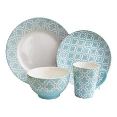 For when I finally break my dishes - 16 Piece Quatrefoil Dinnerware Set - The Look: Chic Bungalow on Wayfair