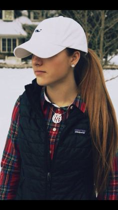 Vineyard Vines baseball hat + plaid + vest + monogram necklace = exactly what every girl wants