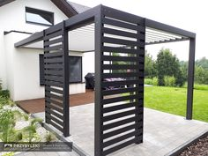 SUNBREAKER terrace pergola is a luxury product. It is characterized by its unique design and attention to the aesthetic finish. Modern Pergola, Metal Pergola, Outdoor Pergola, Pergola Lighting, Pergola Plans, Outdoor Seating, Outdoor Patio Designs, Pergola Designs, Outside Living