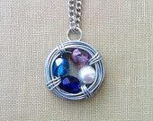 custom birthstone jewelry - wire wrapped bird nest necklace - 4-5 beads