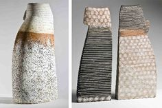 Vessels of Petra Bittl and a ceramic dress by Pollie &Garry Uttley Ceramics