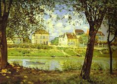 Alfred Sisley and Village on the Banks of the Seine