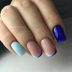 Cute two color french nail tips with light blue and navy nails - Best Nail Art Shiny Nails, Gel Nails, Matte Nails, Gorgeous Nails, Pretty Nails, Navy Nails, Purple Nails, Nagel Hacks, Minimalist Nails